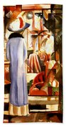 Woman In Front Of A Large Illuminated Window Bath Towel
