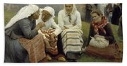 Women Outside The Church At Ruokolahti Bath Towel