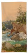 Wooded River Landscape In The Alps Bath Towel