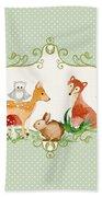 Woodland Fairytale - Animals Deer Owl Fox Bunny N Mushrooms Bath Towel