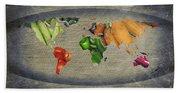 World Fruits Vegetables Map Bath Towel