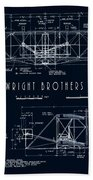 Wright Bros Flyer Aeroplane Blueprint  1903 Bath Towel