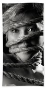 Young Expressive Woman Tied In Ropes Bath Towel