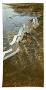 Zinc Sculptures On The Beach At Sunset Bath Towel