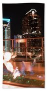 Charlotte North Carolina Skyline View At Night From Roof Top Res Bath Towel
