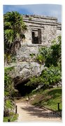Mayan Temples At Tulum, Mexico Bath Towel