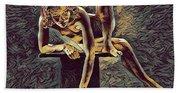 1003s-zac Necklace Of Bones Held By Beautiful Nude Dancer Bath Towel