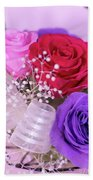 A Gift Of Preservrd Flower And Clay Flower Arrangement, Colorful Bath Towel