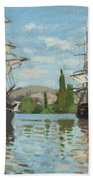 Ships Riding On The Seine At Rouen Bath Towel