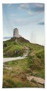 Stunning Summer Landscape Image Of Lighthouse On End Of Headland Bath Towel