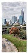 Charlotte City North Carolina Cityscape During Autumn Season Bath Towel