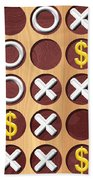 Tic Tac Toe Wooden Board Generated Seamless Texture Bath Towel