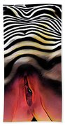 1290s-ak Aroused Woman Vulval Portrait Zebra Striped Woman Rendered In Pastel Style Hand Towel by Chris Maher