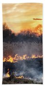 Fires Sunset Landscape Bath Towel