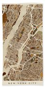 New York City Street Map Bath Towel