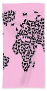 Cats Map Of The World Map Bath Towel