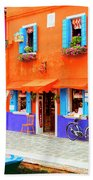 Burano Anisland Of Multi Colored Homes On Canals North Of Venice Italy Bath Towel