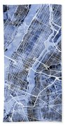 New York City Street Map Bath Towel
