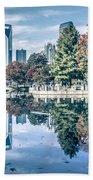 Charlotte North Carolina Cityscape During Autumn Season Bath Towel