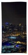 Chicago Night Skyline Aerial Photo Bath Towel