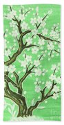 White Tree In Blossom, Painting Bath Towel