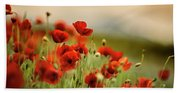 Summer Poppy Meadow Bath Towel