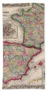 1800s France, Spain And Portugal County Map Color Bath Towel
