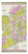 1850 Vintage Map Of Ireland Bath Towel