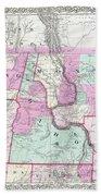 1866 Colton Map Of Oregon Washington Idaho And Montana W Wyoming Bath Towel