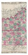 1866 Johnson Map Of Kentucky And Tennessee  Bath Towel