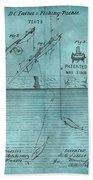 1868 Fishing Tackle Patent Blue Bath Towel