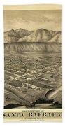 1877 Santa Barbara California Map Bath Towel