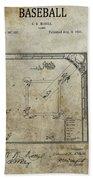 1887 Baseball Game Patent Bath Towel