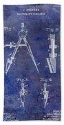1888 Draftsmans Compass Patent Blue Bath Towel