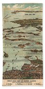 1899 View Map Of Boston Harbor From Boston To Cape Cod And Provincetown  Bath Towel