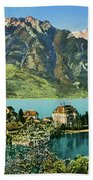 1900s Switzerland Swiss Alps Spiez Mit Ralligstoecke Bath Towel