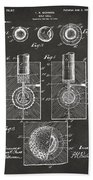 1902 Golf Ball Patent Artwork - Gray Bath Towel