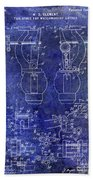 1902 Watchmakers Lathes Patent Blue Bath Towel