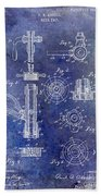 1903 Beer Tap Patent Blue Bath Towel