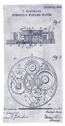 1908 Pocket Watch Patent Blueprint Bath Towel