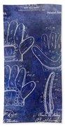 1910 Baseball Glove Patent Blue Bath Towel
