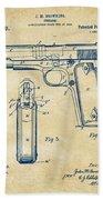 1911 Colt 45 Browning Firearm Patent Artwork Vintage Hand Towel