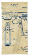1911 Colt 45 Browning Firearm Patent Artwork Vintage Bath Towel