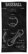 1924 Baseball Patent Illustration Bath Towel