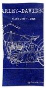 1928 Harley Davidson Patent Drawing Blue Bath Towel