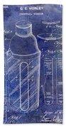 1930 Cocktail Shaker Patent Blue Bath Towel