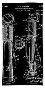 1930 Gas Pump Patent In Black Bath Towel