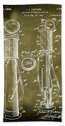 1930 Gas Pump Patent In Grunge Bath Towel