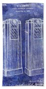 1936 Gas Pump Patent Blue Bath Towel