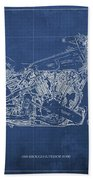 1939 Brough Superior Ss100 Blueprint Blue Background Bath Towel